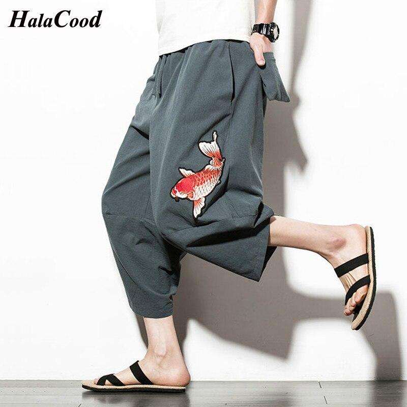 Hot Sell 2018 Summer New Bohemia Men Loose Cotton Linen   Shorts   Knee Length Harem Pants Male Casual Board Plus Size   Short   Pants
