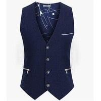 British style Men Colete Masculino Cotton Sleeveless Jacket Waistcoat Men Suit Vest Suit Dress Vests szie S 4XL 5XL 6XL
