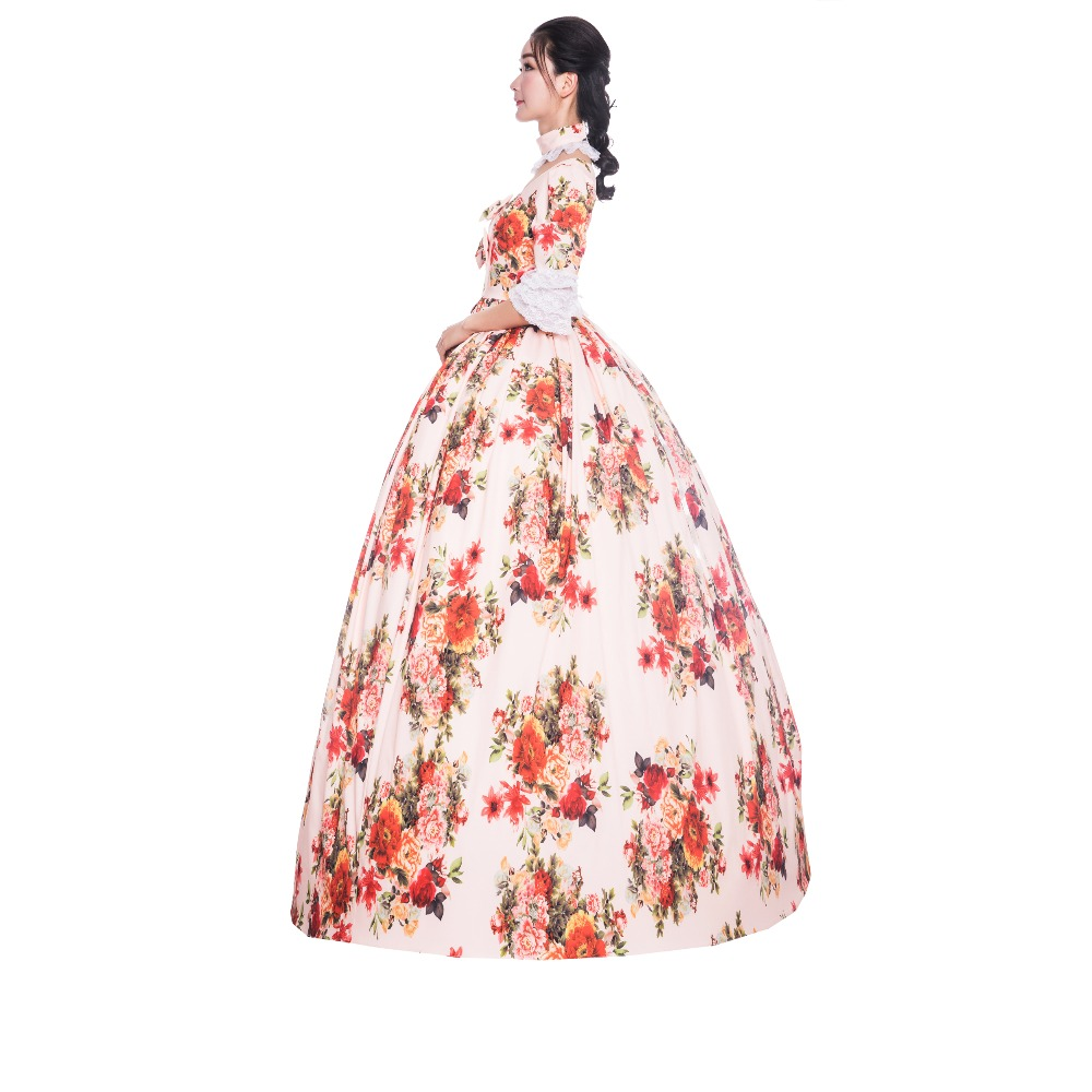 18th Print Princes Elegant Dress Embroidery Dress 1/2 Full Sleeve Theater Dress Flower Ball Gown Victorian Dress - 3