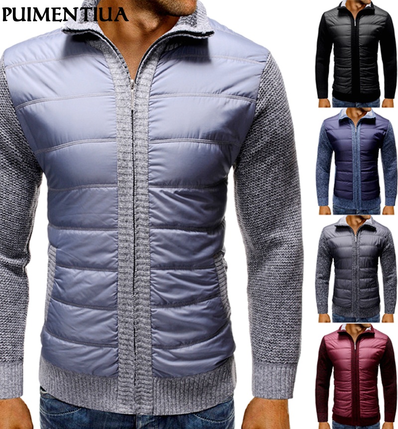 Puimentiua Men's Autumn Winter Thick Sweater Long Sleeve Top Men Jacket Turndown  Cardigan Warm Cotton Knitting  Coat