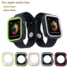 Купить с кэшбэком Two-Color Silicone case Cover for Apple Watch 4 44/ 40mm Compatible with iwatch series 1/2/3 42/38mm men & women watches case