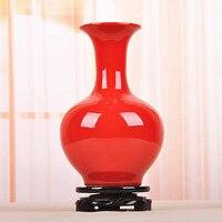 China Red ceramic antique flower vase crafts home decoration full red glaze vase