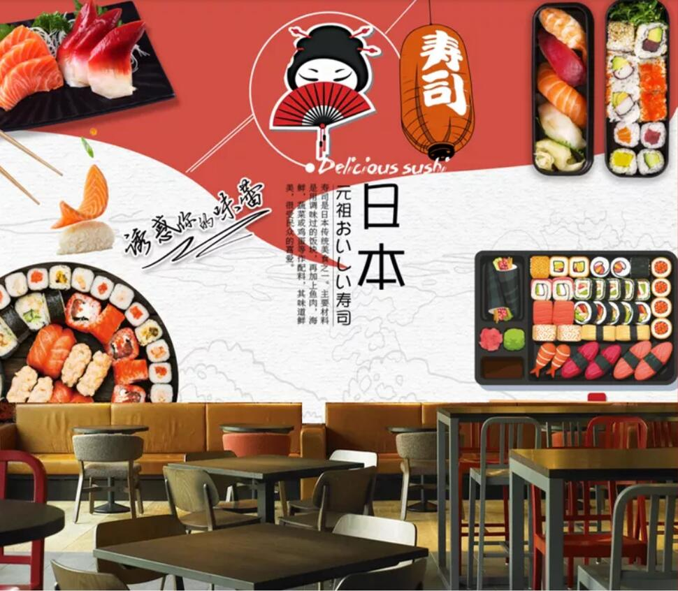 Us 89 44 Offcartoon Japanese Sushi Cuisine Cuisine Features Theme Dining Tooling Background Wall Decoration Wallpaper Murals In Wallpapers From