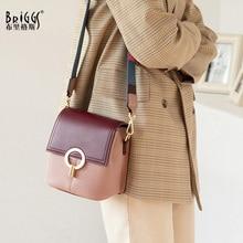 BRIGGS Genuine Leather Bucket Bag Crossbody Bags For Women Luxury Handbags Women Bags Designer Stitching leather Shoulder Bag