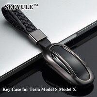 1 قطعة seeyule سبائك الألومنيوم سيارة مفتاح غطاء جلد طبيعي حزام مفتاح قذيفة التخزين حقيبة حامي ل تسلا موديل s نموذج x