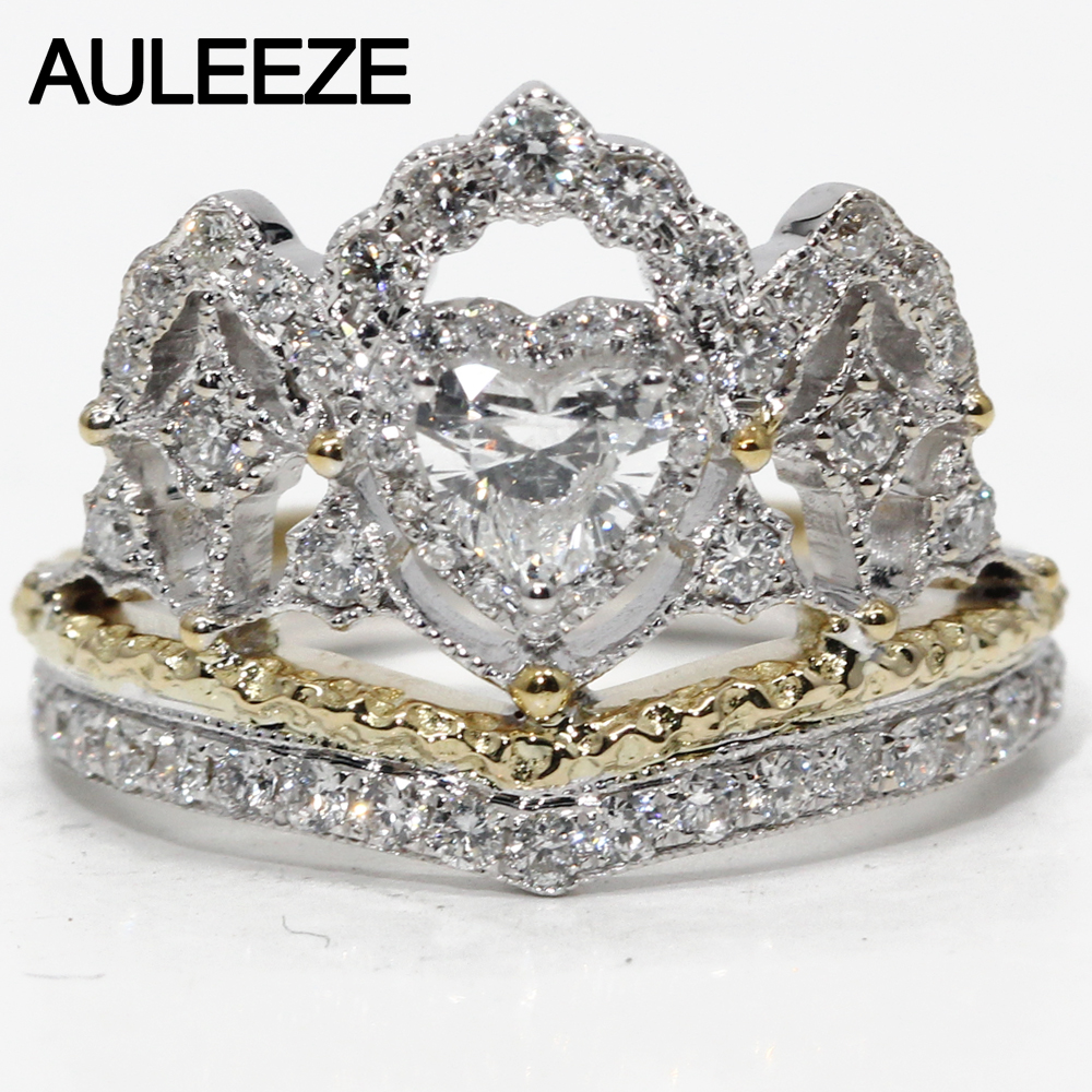 Vintage Crown Ring 0.5ct Moissanite Diamond Engagement Ring Soild 18K Two Tone Gold Unique Art Deco Rings For Women Fine Jewelry