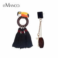 EManco Women S Vintage Asymmetry Drop Stud Earring Cute Bird Red Circle Link Black Tassel Earrings
