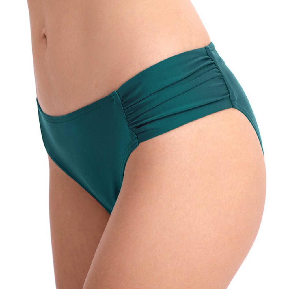 Kobiety pływać majtki moda Ruched standardowe Sexy stroje kąpielowe okłady lato sportowe dziewczyny na plaży dół od bikini strój kąpielowy niski stan