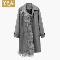 2018 новые осенние перышки Дизайнер взлетно посадочной полосы Для женщин длинное пальто Harajuku в стиле панк женские Тренч ПР длинным рукавом се