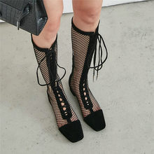 NAYIDUYUN  2019 Women Genuine Leather Summer Knee High Booties Breathable Mesh Punk Pumps Lace Up Straps Evening Party Sandals