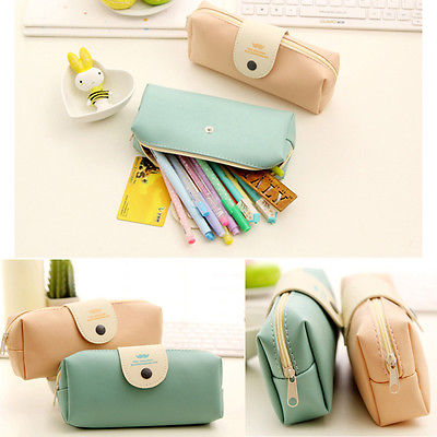 d7656651dee Cute Lady Girl Women PU Leather Coin Purses Pen Bags Kit Travel Cosmetic  Makeup Bags Stationery