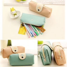 Cute Lady Girl Women PU Leather Coin Purses Pen Bags Kit Travel Cosmetic Makeup Bags  Stationery