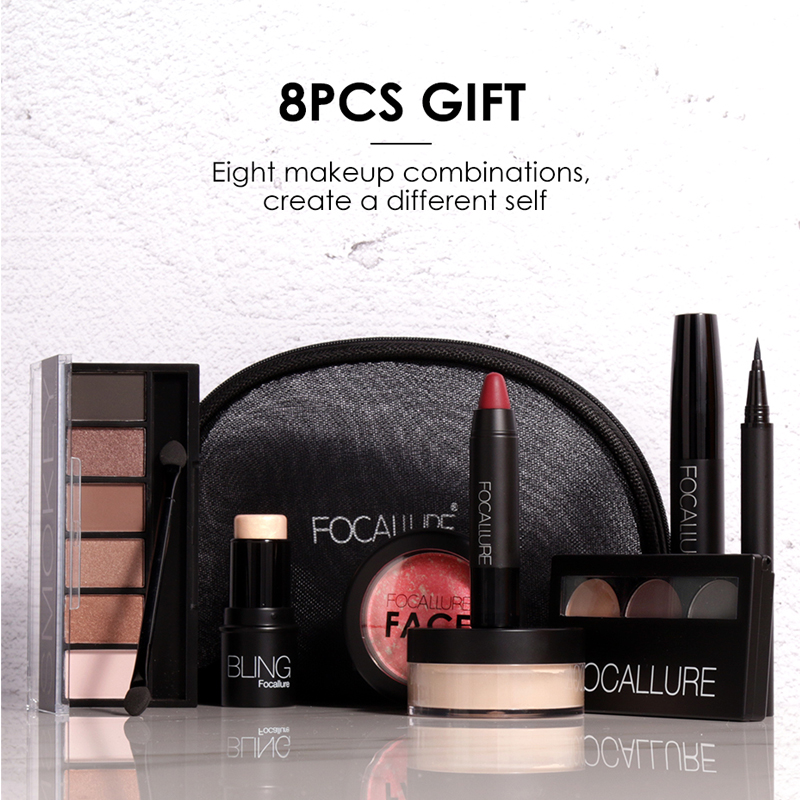 Focallure 8 Pieces gift Makeup Kit All in One Makeup Kit for Gift Personal Use Including Eyeshadow Lipstick Blush todo 10pcs all in one professional oval makeup brushses