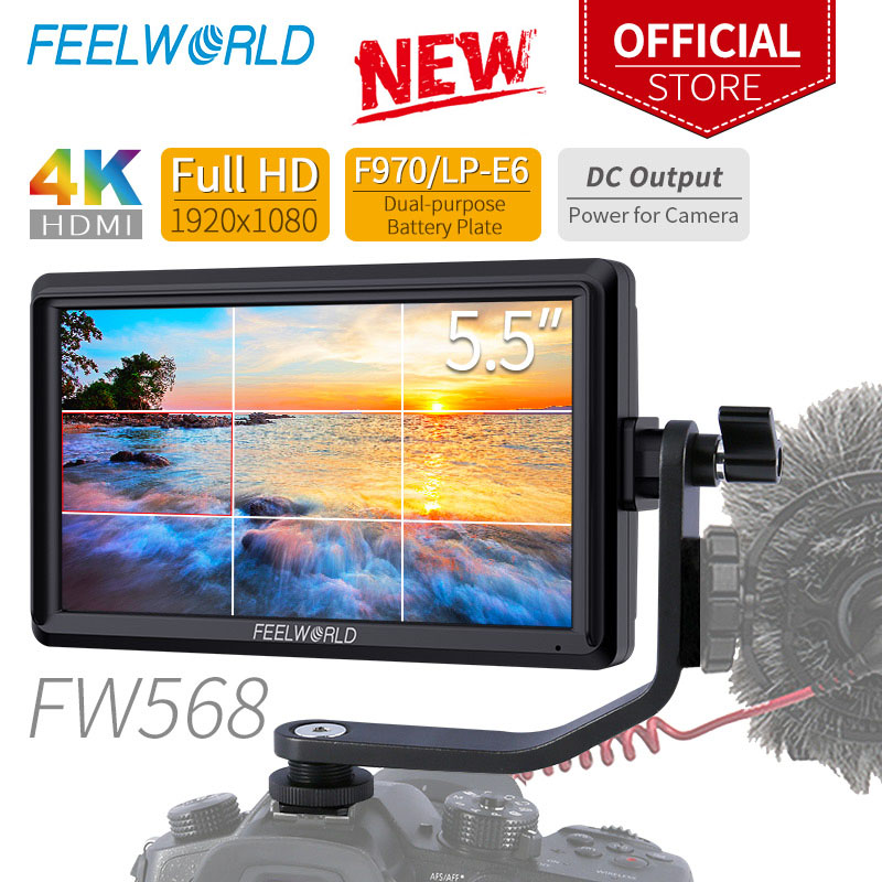 FEELWORLD FW568 5,5 zoll Auf Kamera Feld DSLR Monitor Kleine Volle HD 1920x1080 IPS Video Focus Assist 4 K HDMI Umfassen Tilt Arm