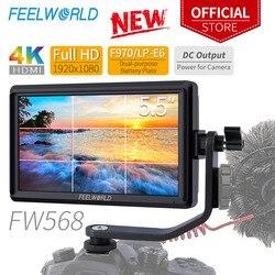 Feelworld fw568 5.5 polegada câmera campo dslr monitor pequeno completo hd 4 k hdmi 1920x1080 ips foco de vídeo auxiliar para sony nikon canon