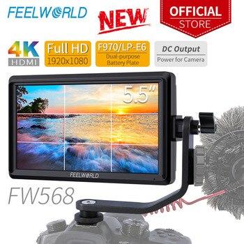 Monitor pequeño de campo DSLR FEELWORLD FW568 de 5,5 pulgadas, Full HD 4K HDMI 1920x1080 IPS, asistencia de enfoque de vídeo para Sony Nikon Canon