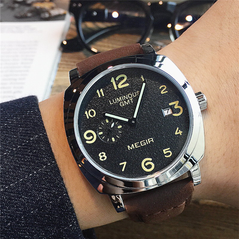 MEGIR Original Brand Fashion Men's Watch Quartz Watch Men Waterproof Wrist watch Military Clock relogio masculino weide original brand sports military watch men fashion quartz wrist watch pu band 30m waterproof multifunctional sale items