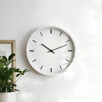 Modern Silent Non ticking Wall Clock, White Wall Clock for Office Home Living Room (12 inch, Metal Frame, Glass Cover)