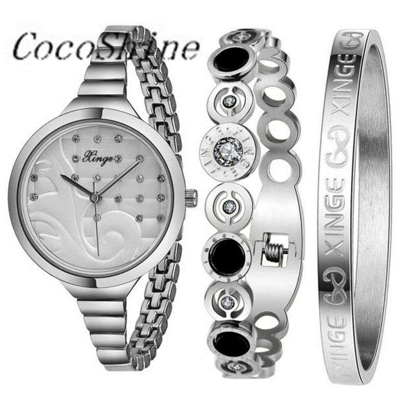 CocoShine A-829   Women Silver Rhinestone Love Bangle Watch And Bracelet Set wholesale cute love heart hollow out bracelet watch for women