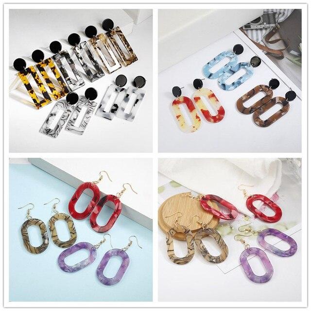 2018 hot popular Acrylic Drop Earrings For Women Leopard round square Earrings geometric fashion jewelry Brincos gift