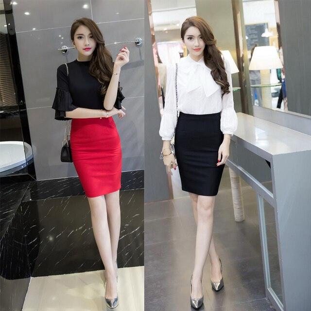 890b3582beca1b € 9.83 5% de réduction|TingYiLi classique rouge noir jupe crayon élégant  bureau dames travail jupe courte 3XL 4XL 5XL grande taille taille haute ...