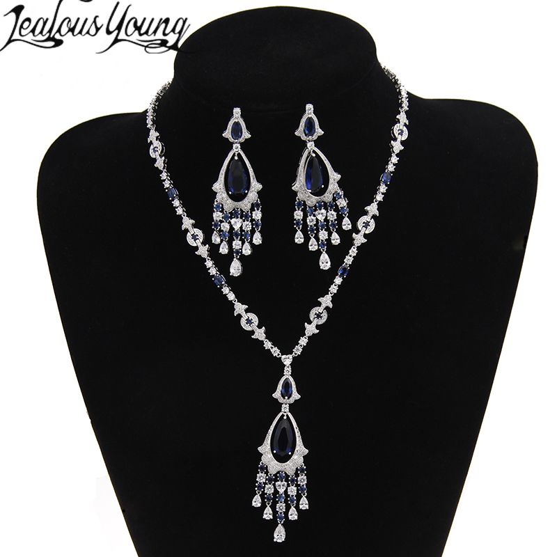 2017 Luxury Blue Stone Jewelry Sets For Women Pendant Necklace Bracelet Jewelry Sets Clear Crystal Juwelen Sets For Girl AS012 viennois new blue crystal fashion rhinestone pendant earrings ring bracelet and long necklace sets for women jewelry sets