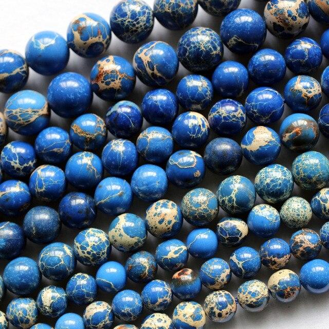 Meihan atacado (3 vertentes/conjunto) 8mm azul variscite pedra suave redonda solta contas para jóias diy fazendo design