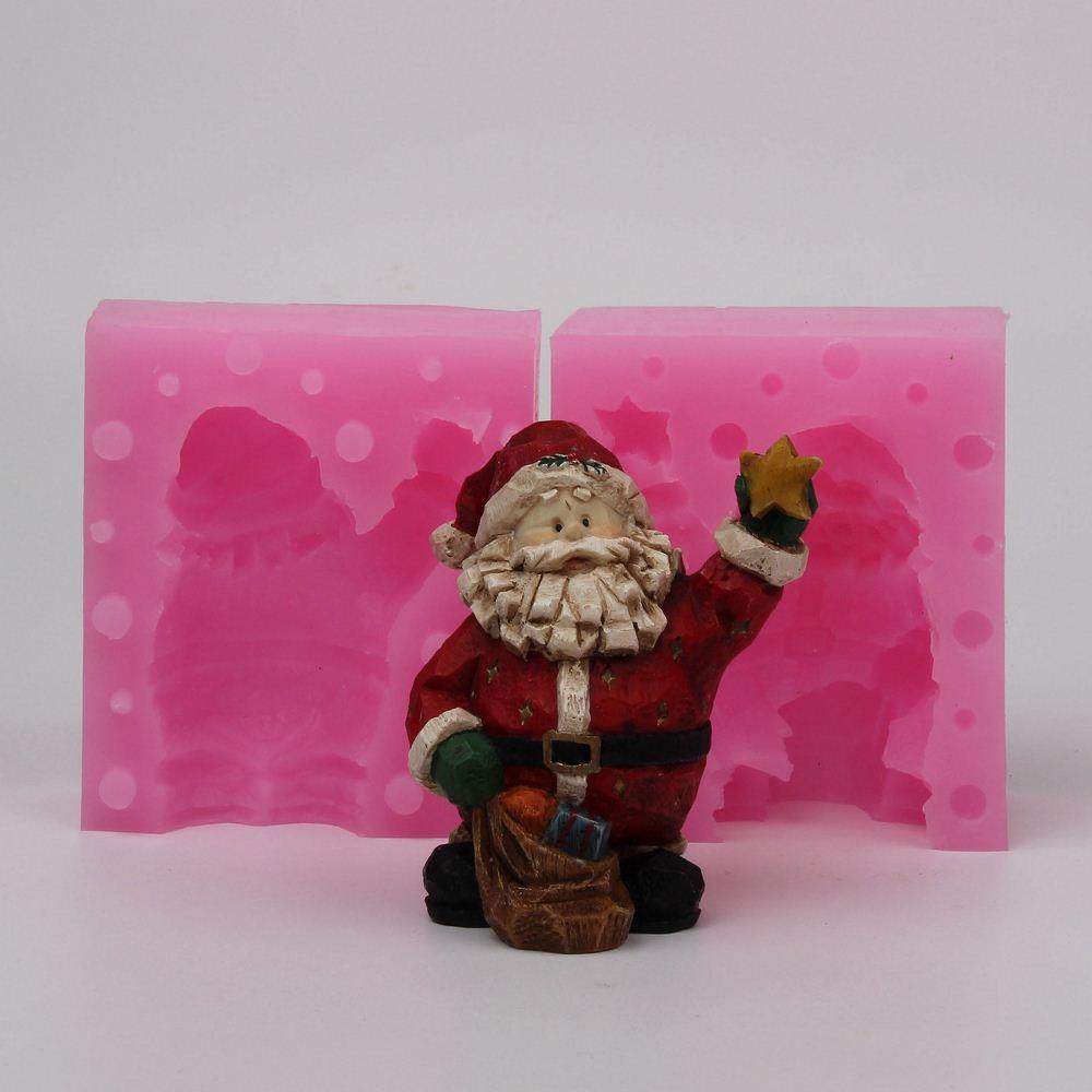 WD008 Silicone moule 3D De Noël Santa Claus articles d'ameublement bricolage Résine argile plâtre décoration artisanat moule fondant gâteau outil