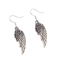 Classic Rose Flower Angel Wings Feather Ancient Silver Dangling Earrings French  1pair Ne215