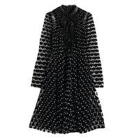 XF 2018 Spring Fashion Designer Runway Summer Dress High Collar Heart Shaped Velvet Stitching Mesh Button Slim Black Dress