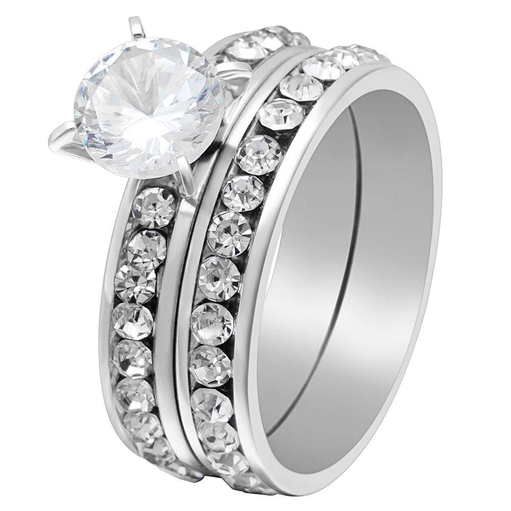 Кольцо из нержавеющей стали 316L для мужчин и женщин, набор обручальных колец с белым кристаллом, ювелирные изделия
