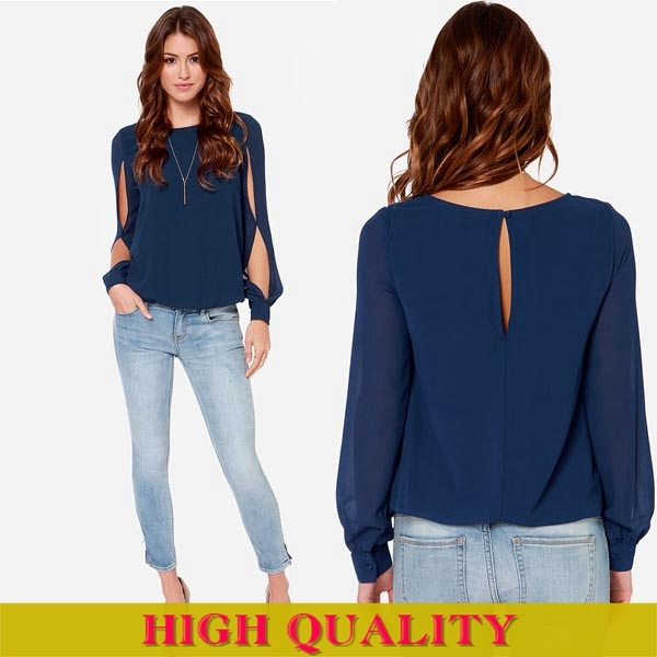 b409c817199 Plus Size XXXL New Fashion 2014 Women Clothing Autumn Blusas Navy Blue  Sheer Long Sleeve Women Blouse Casual Shirt Women