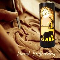 Ручная гравировка трубы ночник, с дизайном слона жирафа, с пластиковым материалом, DIY ночник