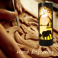 Hand Engraving pipe night light, with elephant giraffe design, with plastic material, DIY NIGHT LIGHT