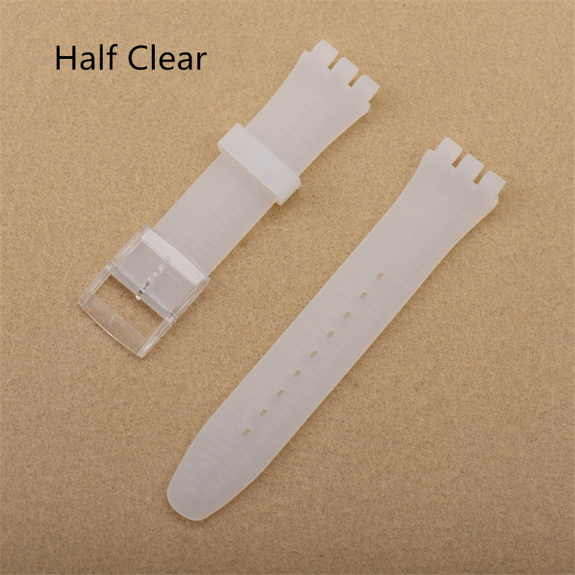 Half Clear 17mm 19mm Silicone Rubber Watch Band Straps Men Women Watches Swatch Black White Navy Rubber Strap plastic buckle in Watchbands from Watches
