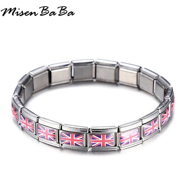 9ce1188df5d4 New Stainless Steel Silver Color UK United Kingdom British Nation Flag  Pattern Keepsake Bracelet Bangle Unisex Gift Jewelry