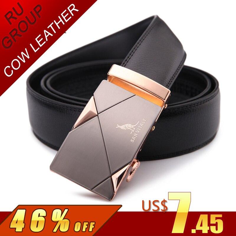 2017 de correa de los hombres de moda de cuero genuino 100% cinturones para hombres alta calidad automática de metal hebillas de correa hombre para vaqueros vaquero