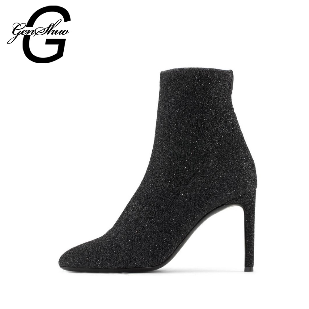 GENSHUO Fashion Shoes Women's Boots Autumn Stiletto Ankle Boots Elastic Socks High Heel Boots Pointed Toe Ankle Boots For Women fashion pointed toe and stiletto heel design ankle boots for women