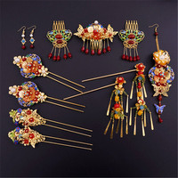 Vintage Chinese Style Classical Wedding Jewelry Sets Bridal Headdress Hair Accessories Gold Plated Crystal Hairpins Earrings