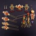 Старинные Китайский Стиль Классические Свадебные Ювелирные Наборы Свадебный Головной Убор Аксессуары Для Волос Позолоченный Кристалл Шпильки Серьги Новый