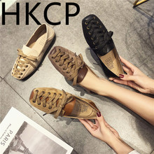 HKCP Fashion 2019 comfort new cross-strap, square-toe, low-cut, single-toe womens Korean spring soft-soled loafers C029