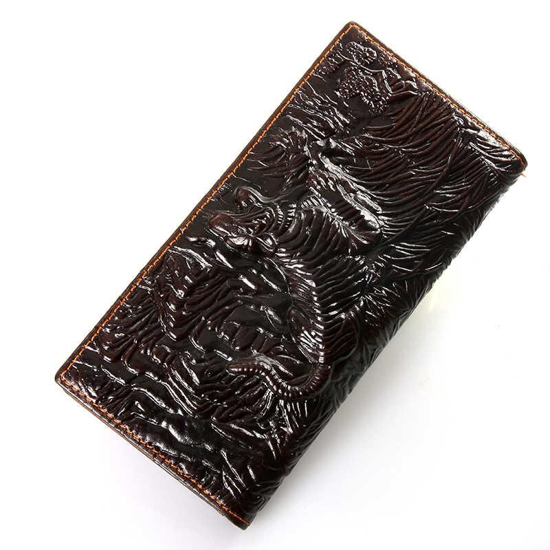 Мужские кошельки-органайзеры из натуральной кожи, фирменный Винтажный Мужской кошелек из натуральной воловьей кожи с карманом для монет, Тигр и дракон-LD