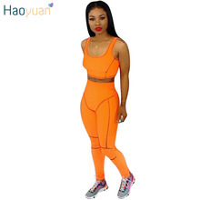 HAOYUAN Neon Green Sexy Two Piece Tracksuits Summer Outfits Crop Top and Pant Sw