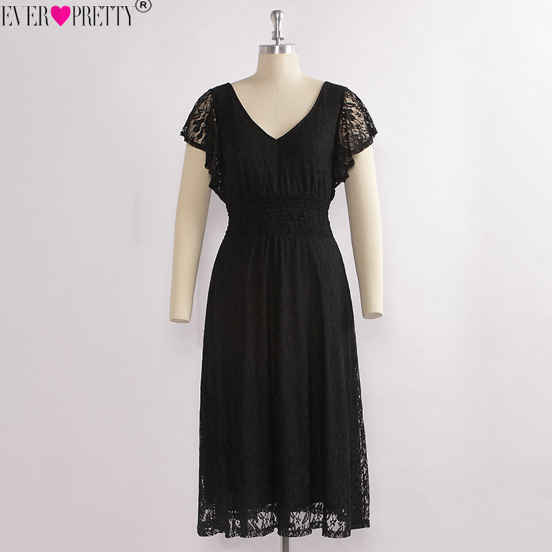 Short Black Lace Cocktail Dresses Ever Pretty Ez07654bk Tea-length Short Sleeves Vestido Coctel 2018 A-line Formal Party Gowns To Produce An Effect Toward Clear Vision Weddings & Events