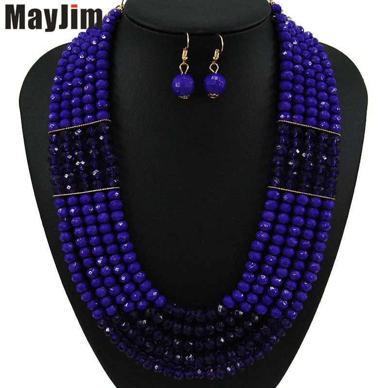 MayJim Statement fashion jewelry sets Handmade gold chain black african nigerian crystal bead dubai jewelry sets Vintage