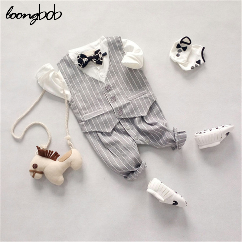 Spring Autumn 2 PCs Baby Boy Gentleman Striped Romper + Vest Infant Party Suits Toddler Cute Bow Tie Formal Wear Jumpsuits