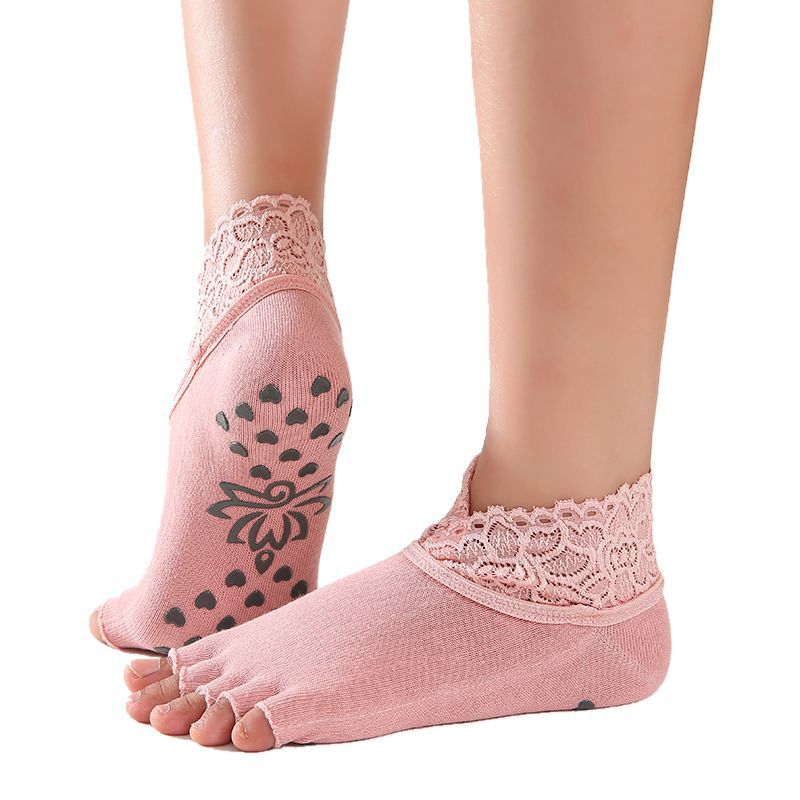 1 Pair Women Yoga Five Toe Anti-Slip Ankle Grip Socks Dots Pilates Fitness Gym Socks Ladies Sports Socks With Lace 6 Colors