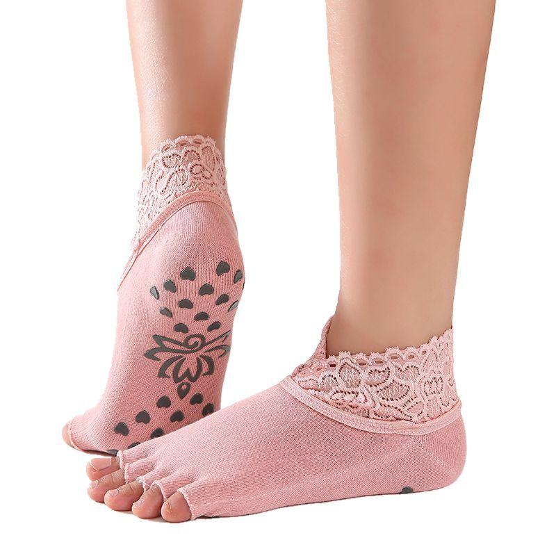 ★  1 пара Женщин Yoga Five Toe Противоскользящие Носки Лодыжки Точки Пилатес Фитнес Тренажерный Зал Нос ★