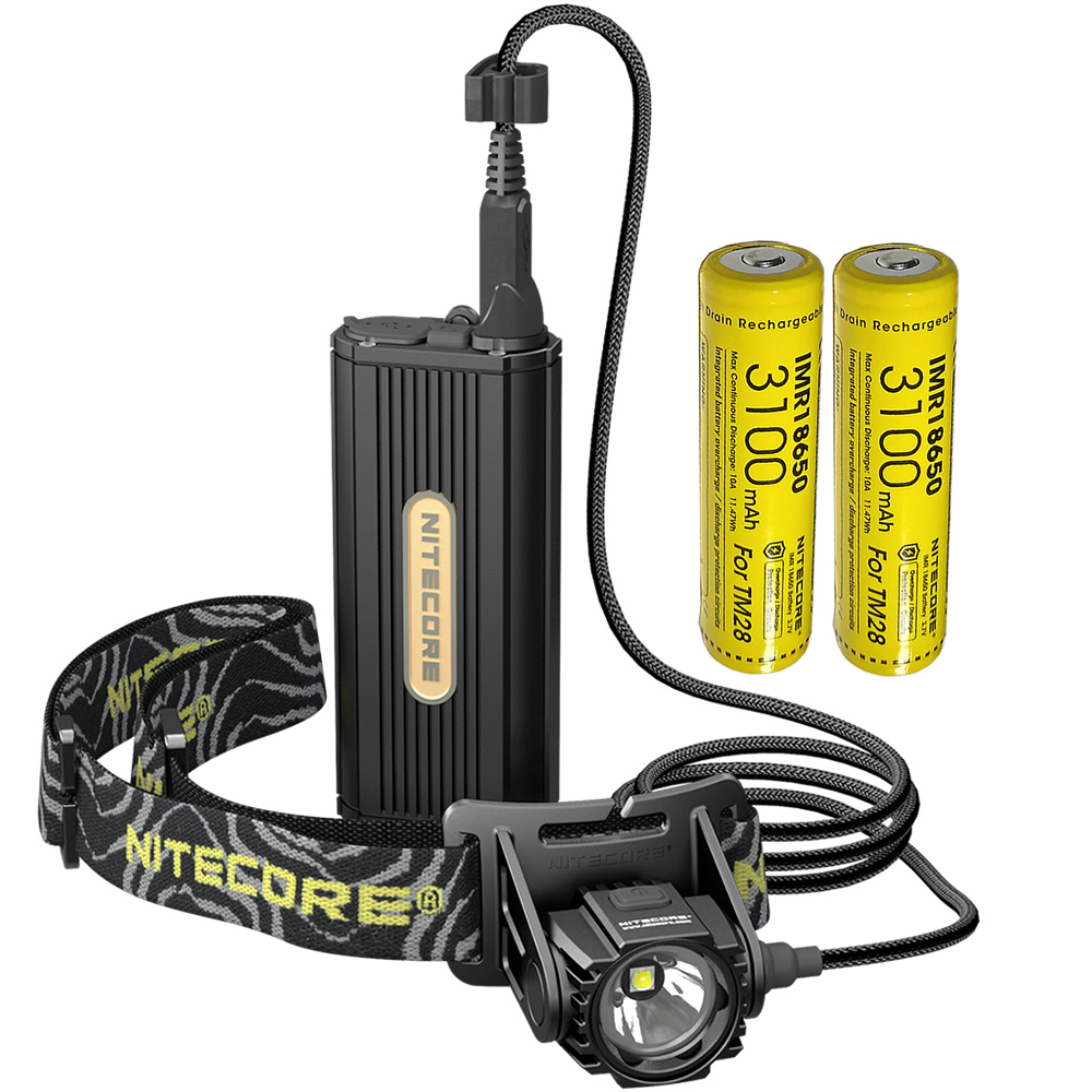 SALE Nitecore HC70 1000Lm Rechargeable Cave Exploring Headlamp with 2x18650 External Battery Pack Waterproof Light Free Shipping