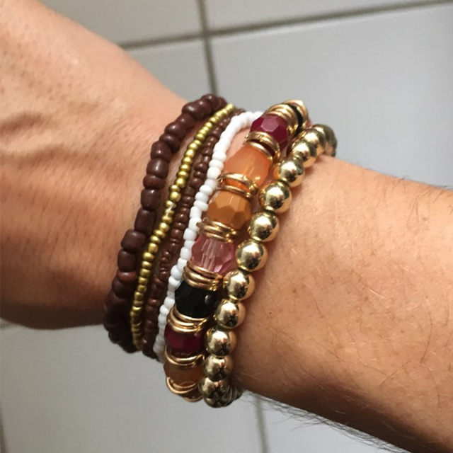 KISSWIFE 2016 Bohemian Summer Jewelry MutiLayer Beads Bracelets & Bangles for Women Elastic Strand